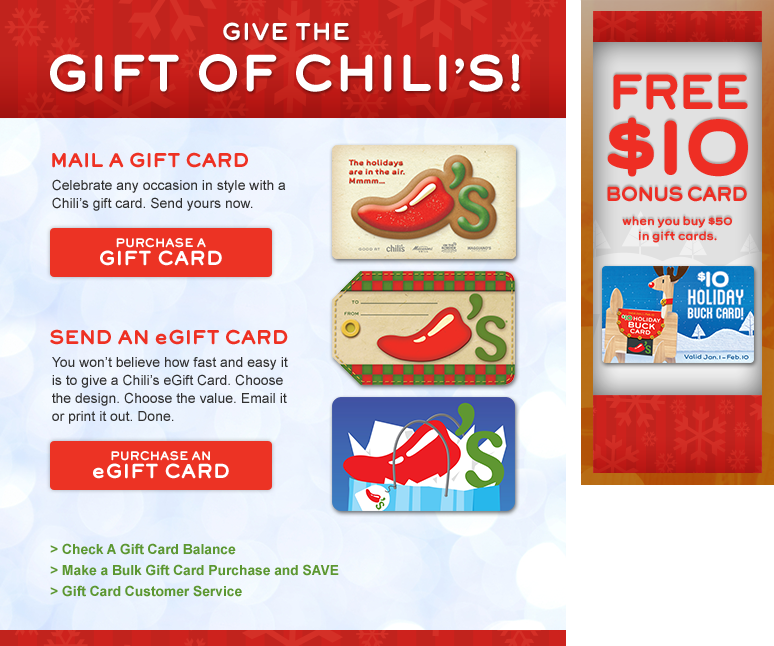 Chili's: Bonus With Gift Card Purchase!